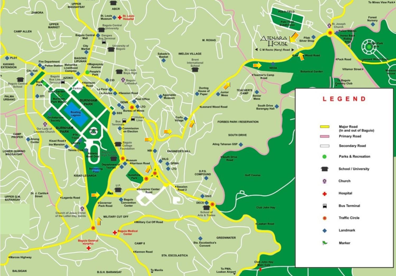 Atenara House Baguio - Baguio map